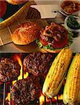 Galettes et du maïs sur le gril de barbecue