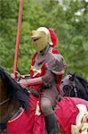 red knight on horseback, warwick castle, England