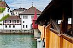 Wooden Bridge over the River Reuss in Lucerne, Switzerland