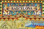 barcelona written on tiles