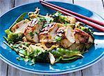 Filet de poulet à l'oeuf de nouilles, brocoli et mange tout (Asie)