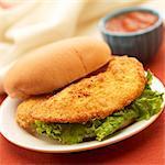 Breaded Fried Chicken Tender Sandwich; Barbecue Sauce