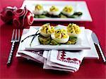 Devilled eggs on cucumber slices