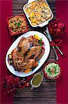 Rôti de dinde Tex-Mex et plats d'accompagnement (vus de dessus)