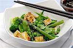 Gegrillter Tofu mit Sesam und ein grüner Gemüsesalat (Asien)