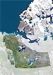 Vue satellite des Territoires du Nord-Ouest, Canada. Cette image a été compilée à partir de données acquises par les satellites LANDSAT 5 & 7.