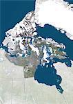 Vue satellite du Nunavut, Canada. Cette image a été compilée à partir de données acquises par les satellites LANDSAT 5 & 7.