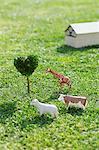 Animals, Heart Shape Tree And Hut On Grassy Field