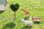 Cow, Giraffe, Sheep And Heart Shape Tree With Hut On Grassy Field