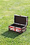 Britische Flagge-Aktenkoffer im grünen Bereich