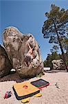 Wanderer Skalierung steilen boulder