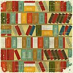 Vintage Book Background - Bookcase Vector Background - Grunge style