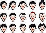 3D head avatars, vector people icon set
