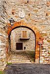 Narrow Alley of Italian Medieval City Todi