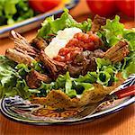 Roast Beef Tostada mit Salsa und Sauerrahm