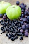 Blackberries, damsons and apples