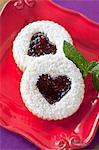 Marmelade gefüllte Herz Cookie