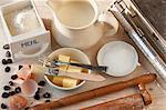 An arrangement of baking utensils and baking ingredients