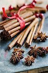 An arrangement of star anise and cinnamon sticks