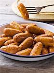 Pan fried pork sausages