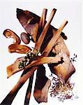 Nature morte aux épices (noix de muscade cumin, cannelle)