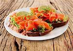 Gesichtsoffen Sandwich mit raucht Lachs und Salat