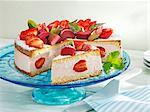 Rhubarb and strawberry cream cake