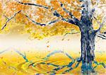 Baum und wellige Wasser In gelb
