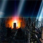 Meteor shower over alien city, computer artwork.