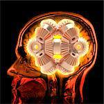 Thought process, conceptual computer artwork, showing a brain gear overlaid a mri brain scan.