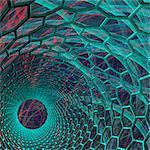Carbon nanotube. Computer artwork of the inside of a nanotube, or buckytube.