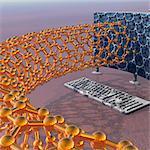 Recherche en nanotechnologie, oeuvre conceptuel ordinateur...