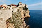 Amazing Dubrovnik Defensive Wall Built on Cliff, Croatia