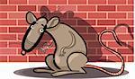Cartoon Humorous Illustration of Rat Against Brick Wall