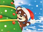 Teddy Bear Waving from behind Christmas Tree