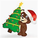 Teddy Bear Carrying Christmas Tree