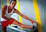 Sportsman Stretching his Leg