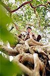 Boy sitting in tree top