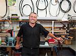 Worker smiling in workshop