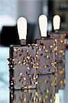 Crème glacée au chocolat sur les bâtonnets de noix hachées