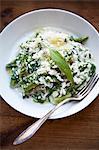 Risotto aux asperges vertes, ail et fromage Parmesan