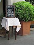 A menu at the entrance of a restaurant (Milan, Italy)