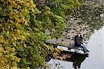 senior couple sitting together on pier