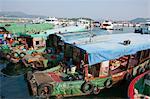 Bateaux de pêche d'ancrage de la jetée, Sai Kung, Hong Kong