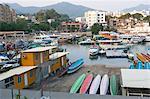 Yachts and boats mooring at the bay, Sai Kung, Hong Kong
