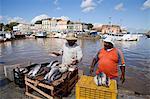 Vendeurs de poissons poissons devant Ver p Peso marché, front de mer, Belem, Amazonie, Brésil, en Amérique du Sud