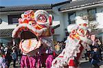Lion dance celebrating the Chinese New Year at Ngong Ping 360 village, Lantau Island, Hong Kong