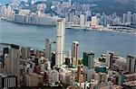 Balayage oculaire de l'oiseau du quartier de North Point et Tsimshatsui zone de Sky100, 393 mètres au-dessus du niveau de la mer, Hong Kong