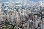 Bird's eye sweep of Mongkok and Yaumatei area from Sky100, 393 metres above sea level, Hong Kong