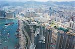 Bird's eye sweep of Mongkok and Tai Kok Tsui area from Sky100, 393 metres above sea level, Hong Kong